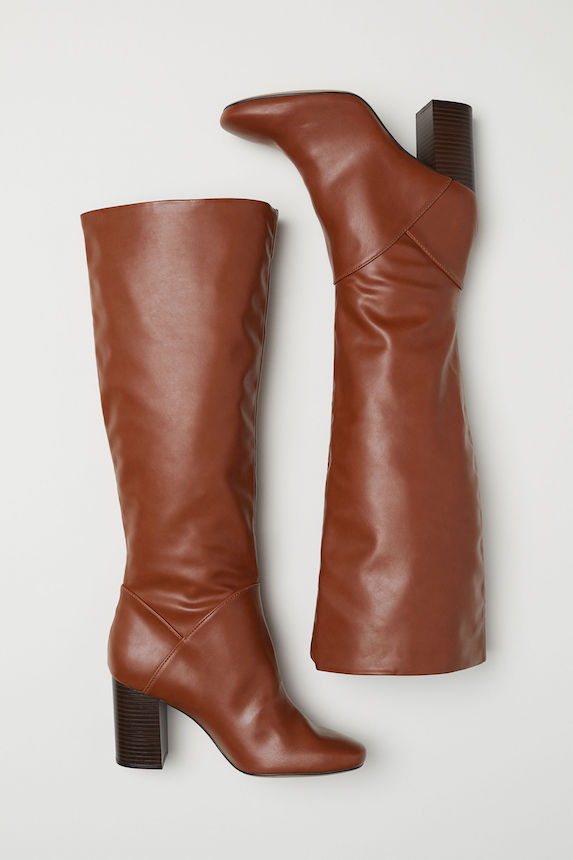 Brown tall leather boots