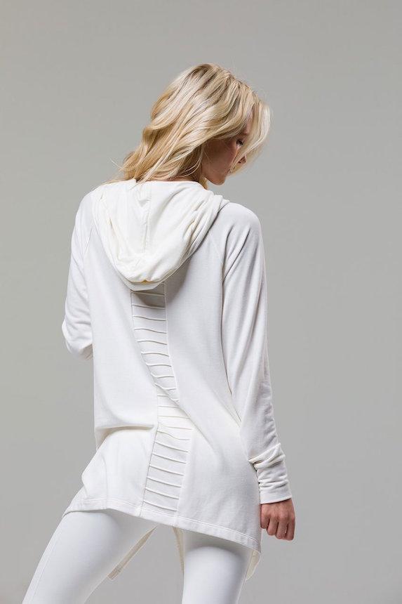 Model wears white lounge-set