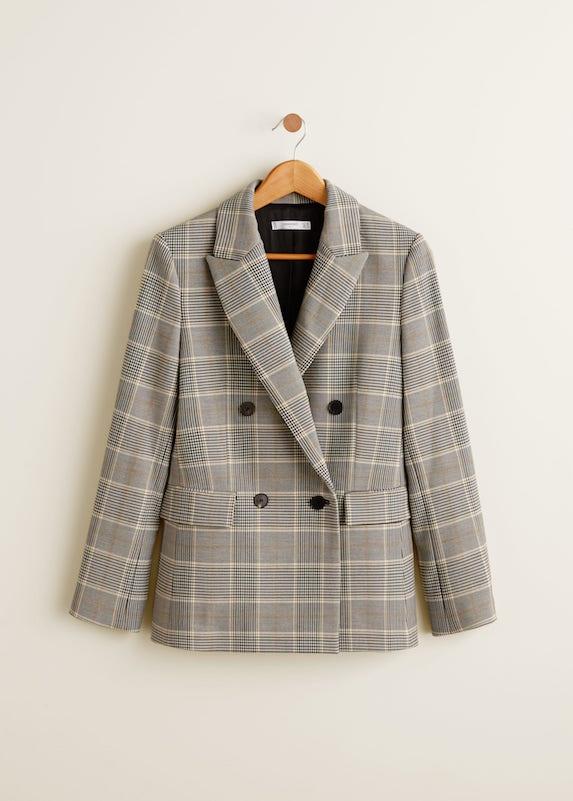 Check print oversized blazer on a hanger
