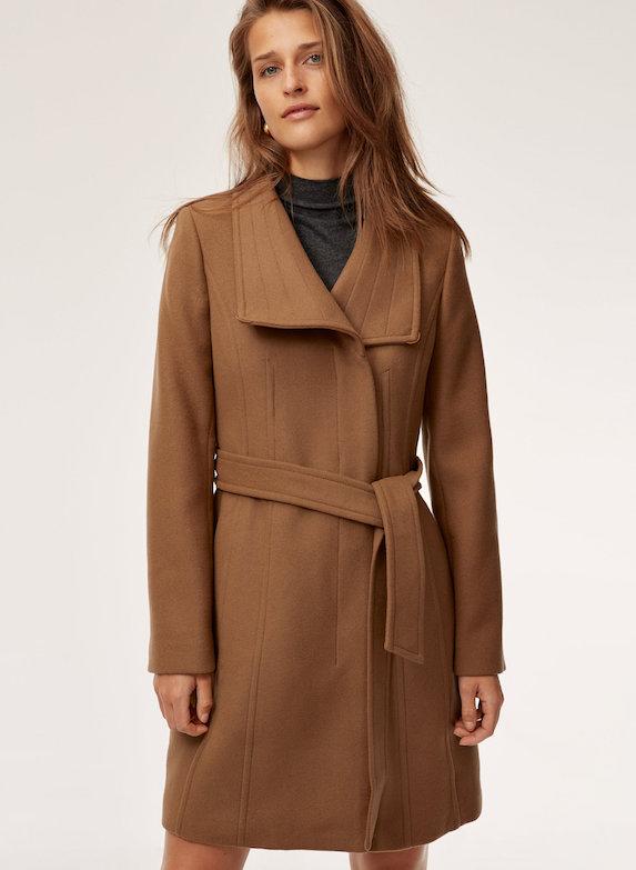 Model wears wool coat