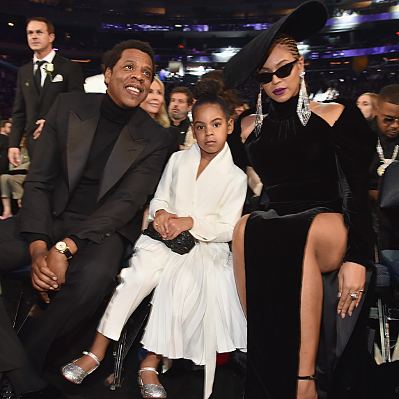 Jay-Z, Blue Ivy Carter and Beyonce at the Grammys