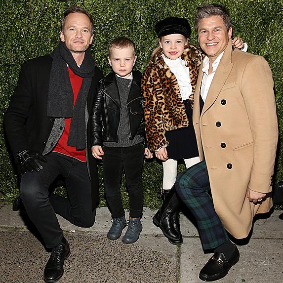 Neil Patrick Harris and David Burtka posing with children Gideon and Harper