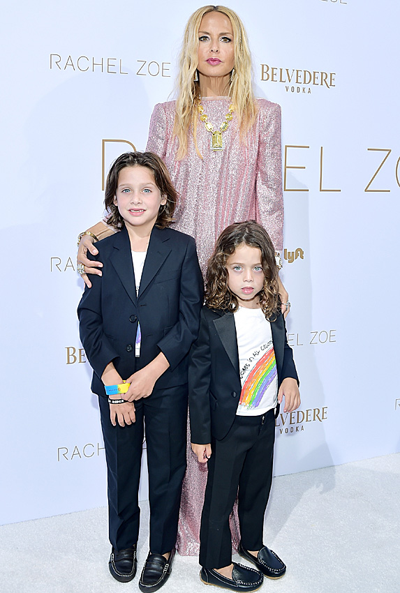 Rachel Zoe with sons Skyler and Kaius at her Spring 2019 collection