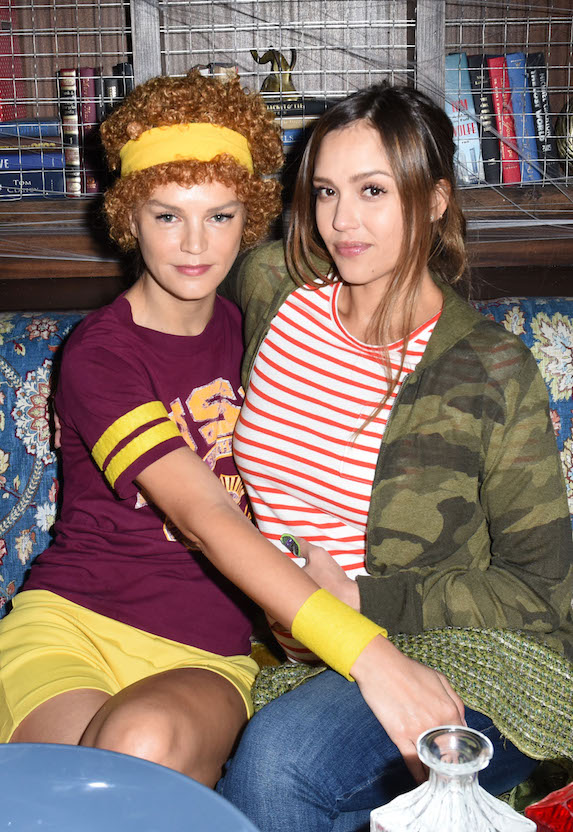 Kelly Sawyer and Jessica Alba dressed as film characters for Halloween