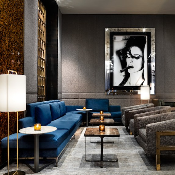 Plush sofas and luxurious finishings within the One Bar and Lounge at The Hazelton Hotel in Toronto