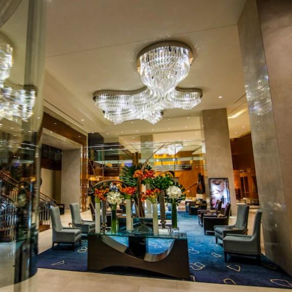 Interior views of the lobby at the Ritz Carlton Hotel in Toronto