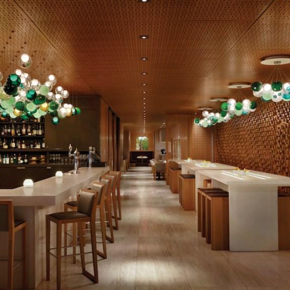 The dramatic interiors of Bosk Restaurant at The Shangri-La Hotel