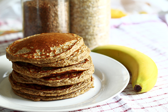 whole grain pancakes and banana