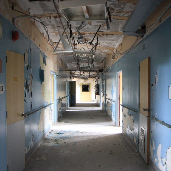 Hallway in an abandoned hospital