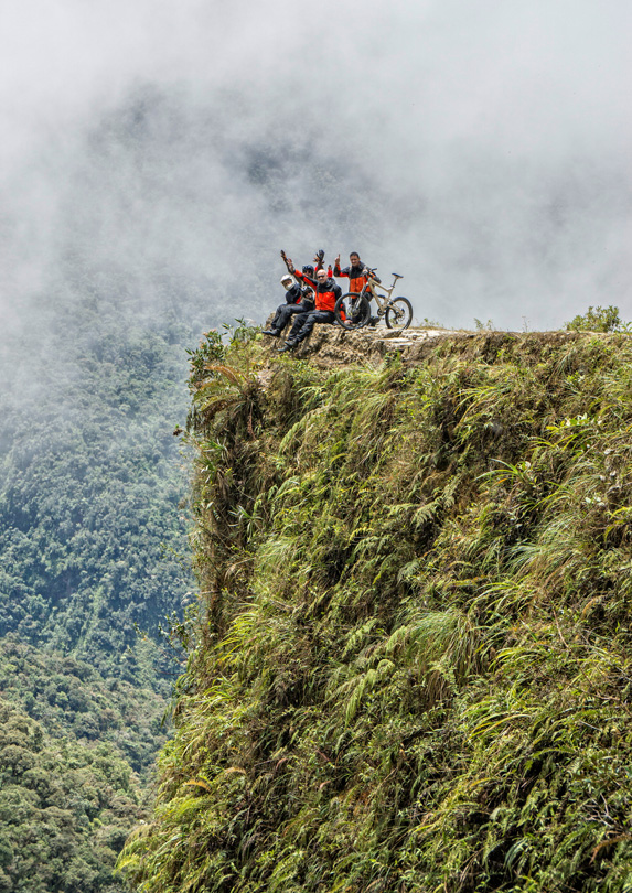 Mountain bikers in Bolivia