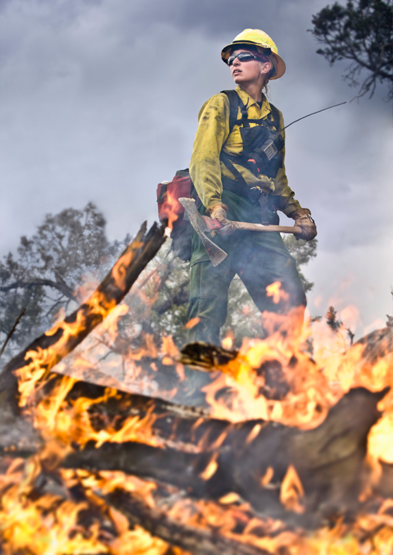 Firefighter holding an ax