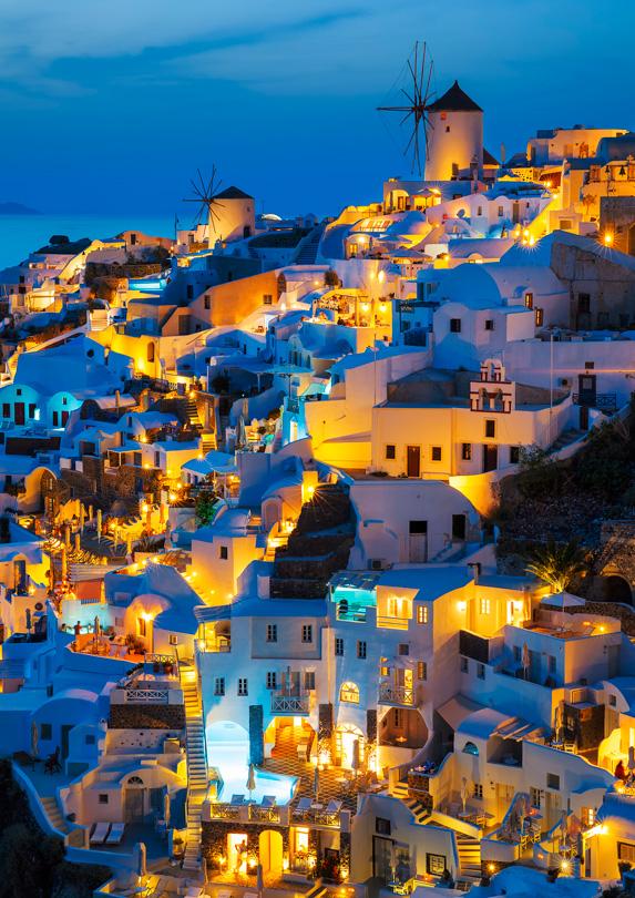 Greece village at night