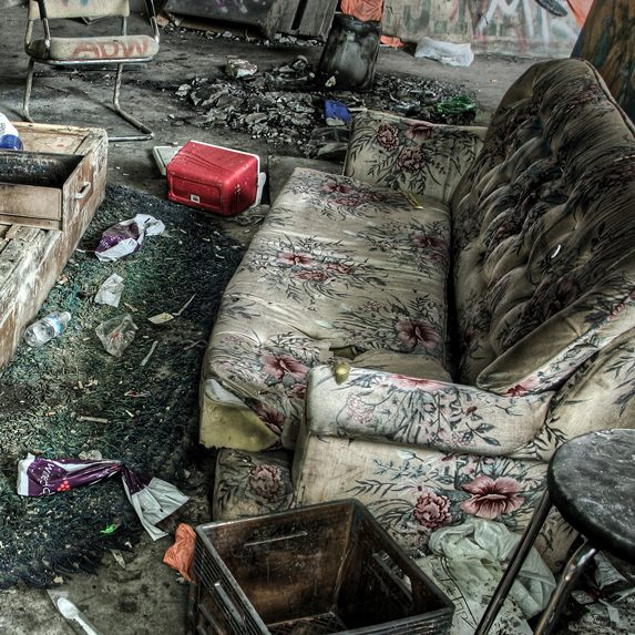 Makeshift living room in an abandoned warehouse in Toronto, Ontario