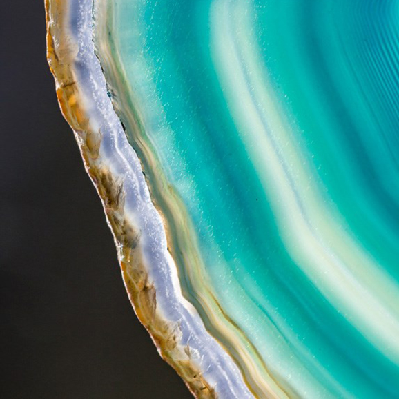 Closeup of the gorgeous agate gemstone, with beautiful shades of aqua and turquoise