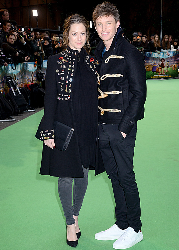 Hannah Bagshawe and Eddie Redmayne at 'Early Man' premiere