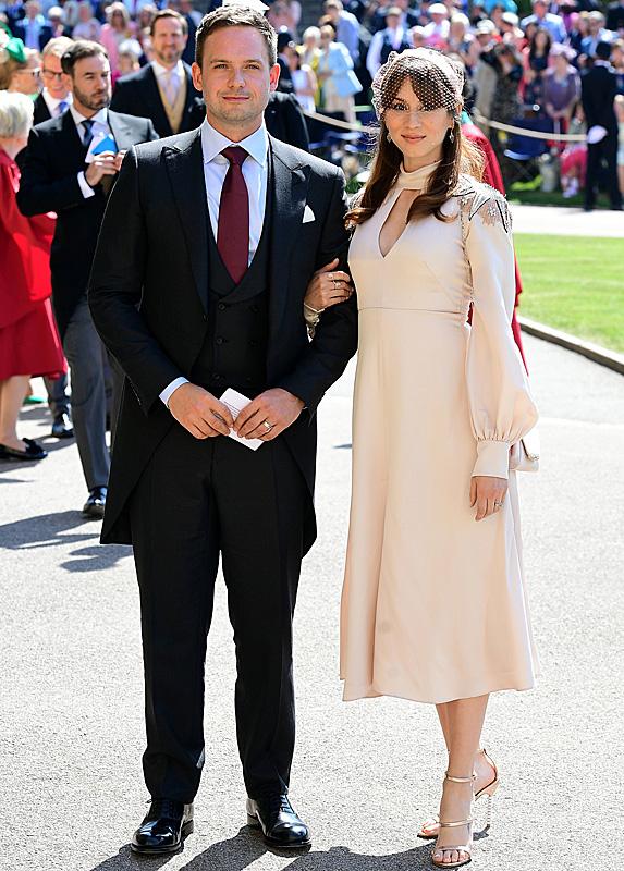 Patrick J. Adams and Troian Bellisario at Harry and Meghan's wedding