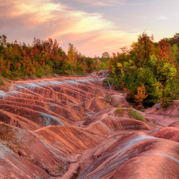 Shot of the otherworldly red-coloured stone formations