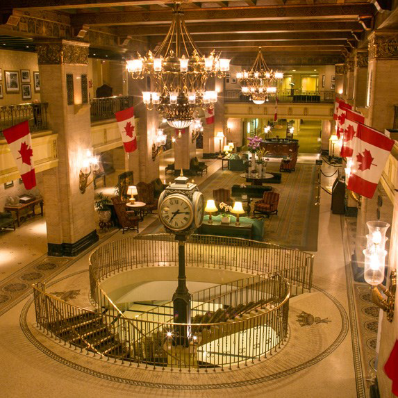 Interior of the Fairmont Royal York hotel lobby, with a clock tower at the centre