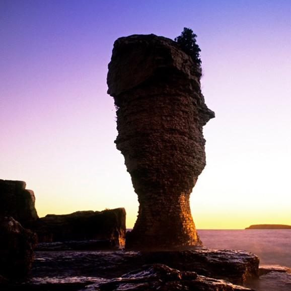 Back-lit shot of the flower pot rock formation