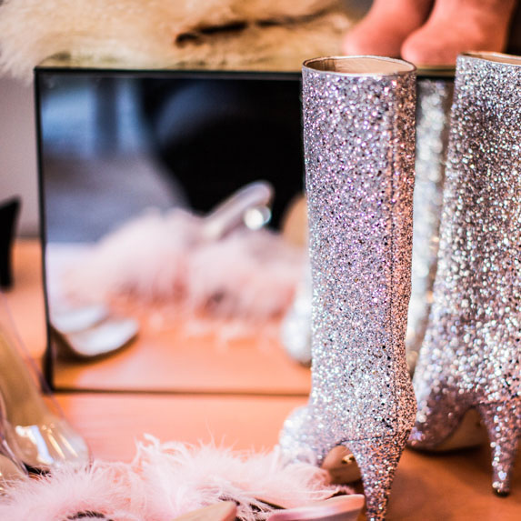 add glitter to high heels