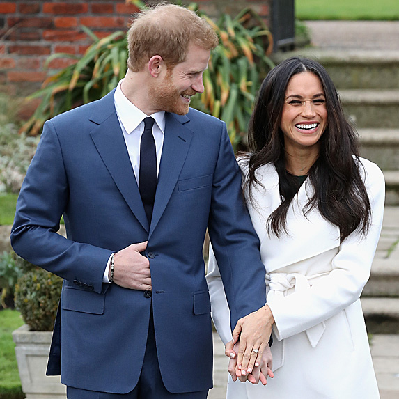 Harry and Meghan outside Kensington Palace to announce their engagement
