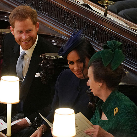 Harry, Meghan and Princess Anne at Eugenie and Jack's wedding