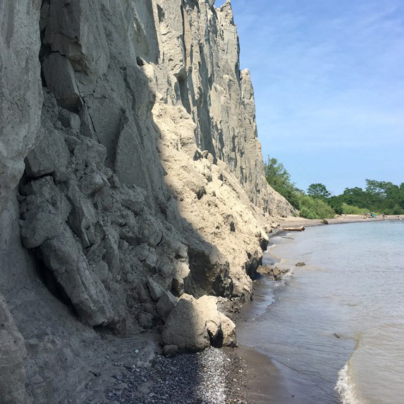 Side of the sandy bluffs, meeting with the water