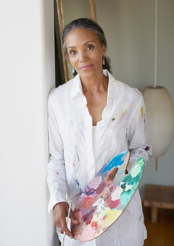 Woman learning to paint