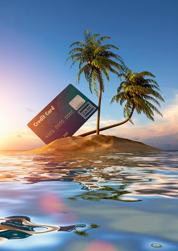 Credit card on a tropical island