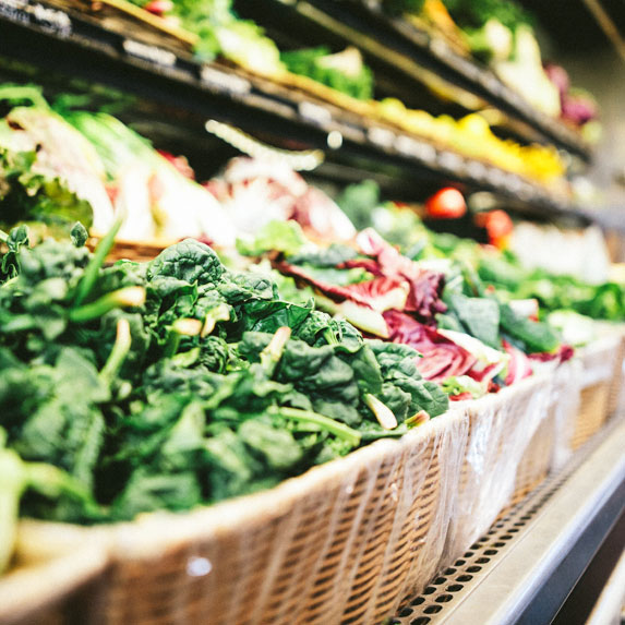 Groceries/produce on store shelves