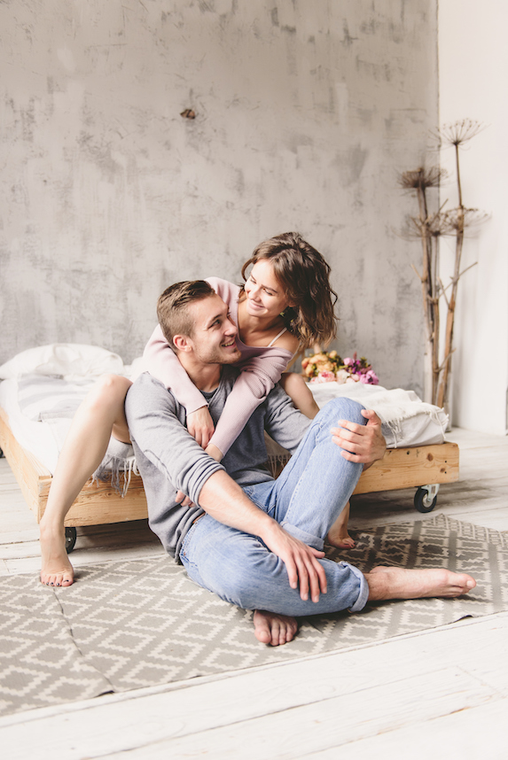 Couple spending quality time together at home