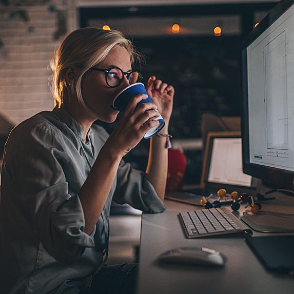 Busy woman working hard