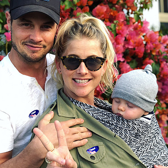 Dean Sheremet, Vanessa Black and son Atlas shortly after voting