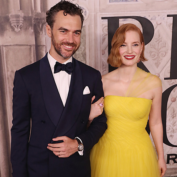 Jessica Chastain and Gian Luca Passi de Preposulo at the Ralph Lauren show during NYFW in September 2018