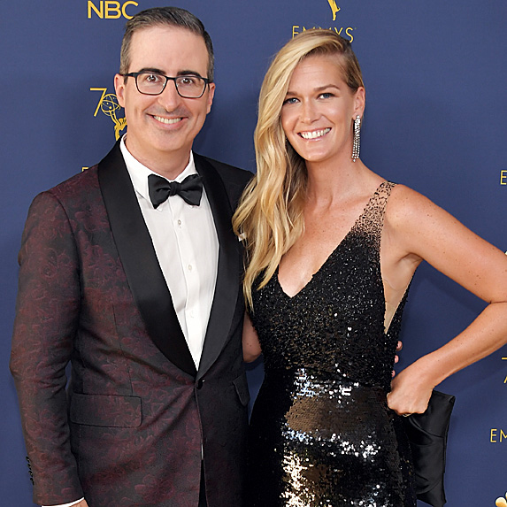 John Oliver and Kate Norley at the 2018 Emmy Awards
