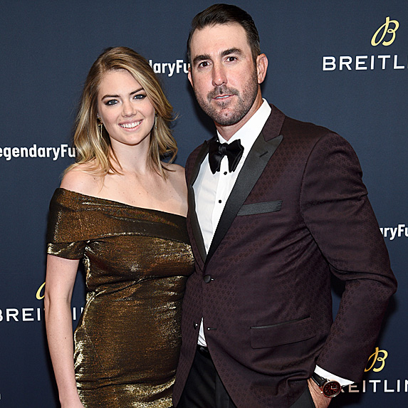 Kate Upton and Justin Verlander at the 2018 #LEGENDARYFUTURE Roadshow in February 2018