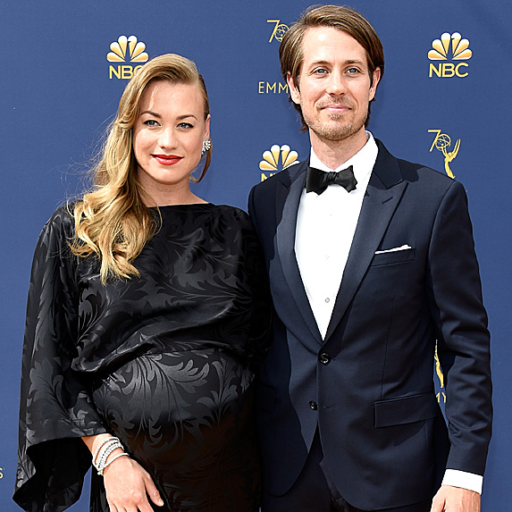 Yvonne Strahovski and Tim Loden at the 2018 Emmy Awards in September