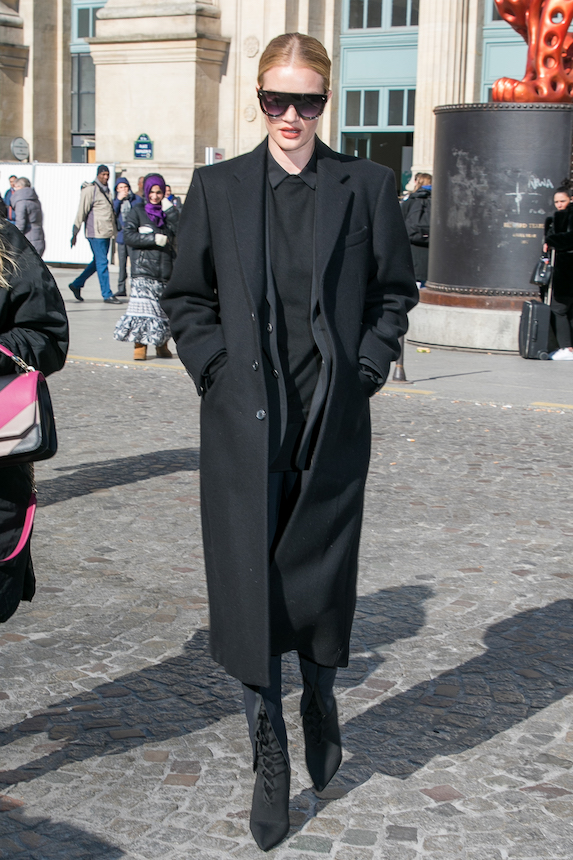 Model Rosie Huntington-Whiteley wearing all black while out and about in Paris
