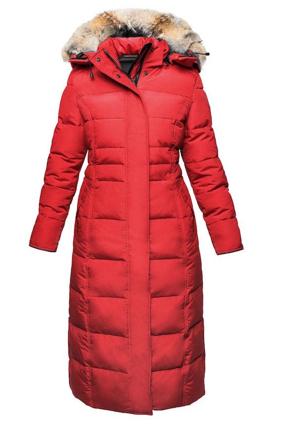 Long red women's winter coat in a parka style