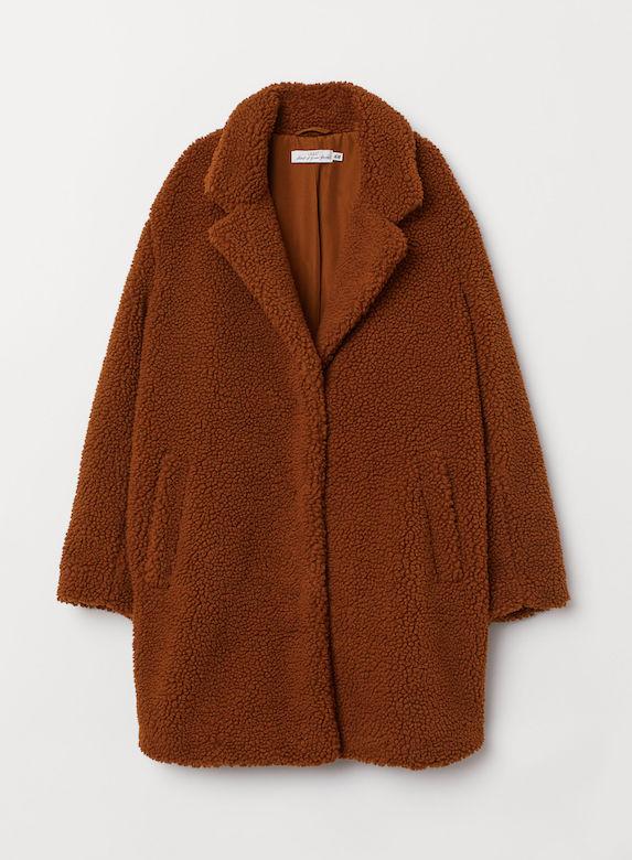 Brown shearling-texture pile coat