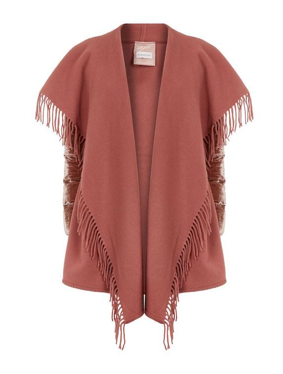 Pink cape coat with fringe detail