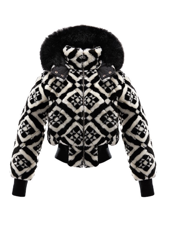 Black and white faux fur tile-print bomber jacket