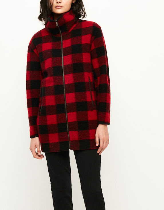 Red and black check-print textured coat