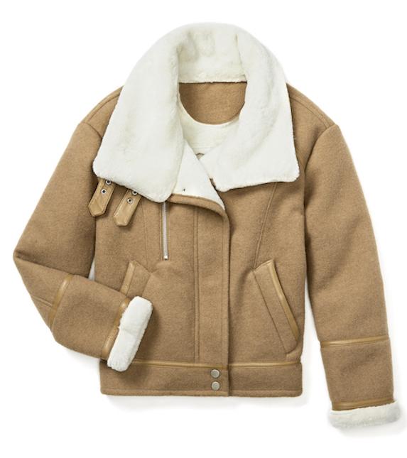 Brown shearling biker-style winter coat