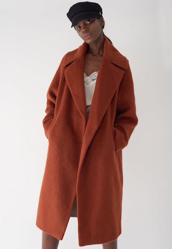 Luxurious brown oversized cocoon-style coat