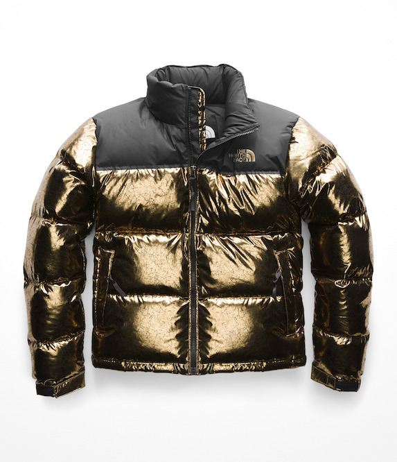 Gold cropped puffer jacket