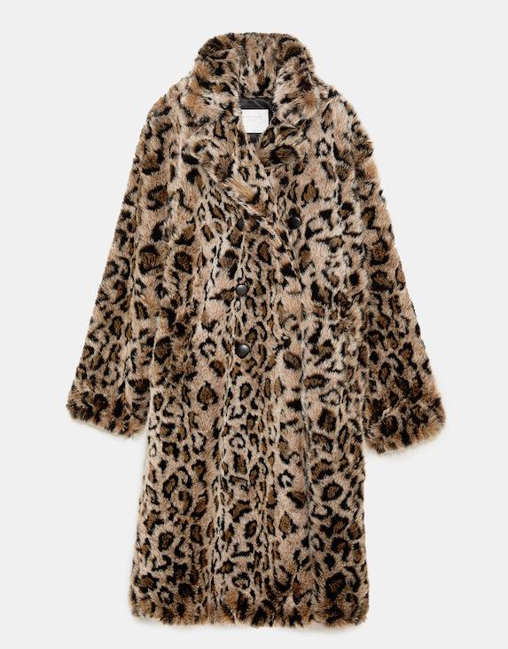Faux fur animal print coat in a midi length