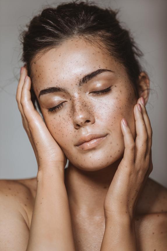 Woman's face with natural makeup