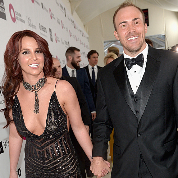 Britney Spears and David Lucado at Elton John's Oscar party in 2014
