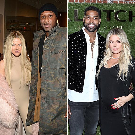 Khloe Kardashian and Lamar Odom in 2016; Khloe Kardashian and Tristan Thompson in 2018